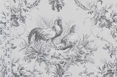 Grey rooster toile fabric French chicken from Brick House Fabric: Novelty Fabric French Country Kitchens, French Country Style, Country Kitchen Curtains, Rooster Decor, Novelty Fabric, French Fabric, Velvet Curtains, White Decor, Tapestry