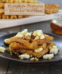 Liv Life: Pumpkin-Banana Blender Waffles #vegan - but you'd ... More