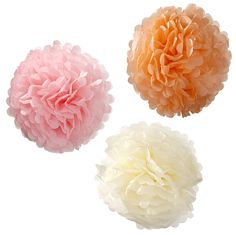"""Divine Pastel Pom Poms will add height, Texture and beauty to any space. Perfect Pastels for weddings, parties and any social gathering! 3 x pastel colours and 3 different sizes, 10"""" 12"""" and 15"""" tissue pom poms with ribbons. Easy to make with instructions."""
