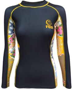 Fuji Women's Kimono Jiu Jitsu Rash Guard - Black: 4-way stretch, anti microbial, sublimated graphics, tapered waist. SOLD AT BUSHIDOWAREHOUSE.COM