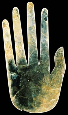 Mica Hand -100 B.C. to A.D. 500  The Hopewell culture is an ancient American Indian civilization that arose in Ohio and other parts of eastern North America during the Middle Woodland Period, perhaps as early as 100 BC. It is characterized by gigantic mounds and earthen enclosures in a variety of shapes, magnificent works of art crafted from raw materials brought to Ohio from great distances, and particular styles of stone tools and pottery unique to this time and region.