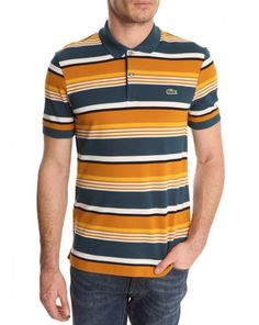 Polo rayé camel Tagine LACOSTE LIVE, taille M
