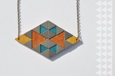Wood + Brass Double Triangle Pattern Necklace by TriAndGull on Etsy