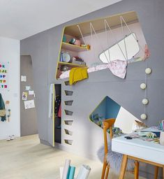 The Advantages of a Loft Bed in a Kid's Room - Traumhaus Zimmer Loft Spaces, Kid Spaces, Bunk Bed Designs, Bedroom Designs, Kids Bunk Beds, Kids Room Design, Cool Beds, Girls Bedroom, Bedroom Ideas