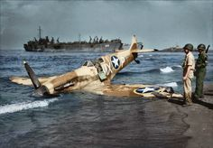 """Supermarine Spitfire Mk.VC, JK707, MX-P, 307th Fighter Squadron """"Stingers"""", 31st Fighter Group, after an emergency landing on the beaches of Paestum, Italy, October 1943."""