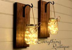 Mason Jar Lanterns, Mason Jar lights! Christmas Gift, Set of 2, Rustic Mason Jar, Wall Sconces, Shabby Chic, Rustic Decor by EverythingRustique on Etsy https://www.etsy.com/listing/486549083/mason-jar-lanterns-mason-jar-lights