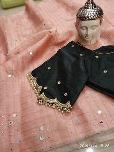 blouse designs latest Latest simple blouse sleeve design - The handmade craft Pattu Saree Blouse Designs, Simple Blouse Designs, Stylish Blouse Design, Fancy Blouse Designs, Bridal Blouse Designs, Blouse Neck Designs, Sleeve Designs, Blouse Patterns, Hand Work Blouse