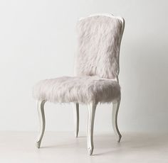 RH TEEN's Sophie Desk Chair:Sitting pretty. Luxe faux fur and a gracefully carved apron and legs give our Louis XV silhouette extra comfort and a generous dose of glamour.