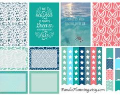 Out to sea weekly planner stickers full half quarter box tab flag happy planner erin condren matte glossy weekly
