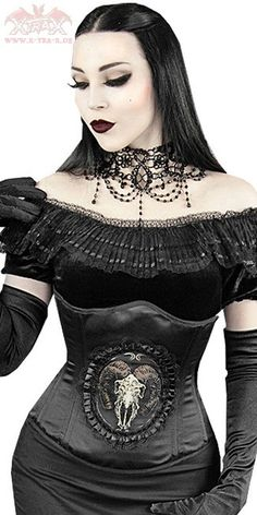Ewelina modelling her #Goth girl under-breast bustier