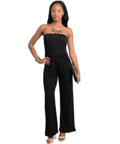 NEW Large BLACK STRETCH PALAZZO Gaucho WIDE-LEG JUMPSUIT Strapless ROMPER Womens #Jumpsuit