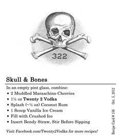 Skull & Bones Cocktail Recipe - muddled cherries, #vodka, Coconut Rum, Vanilla Ice Cream, Crushed Ice