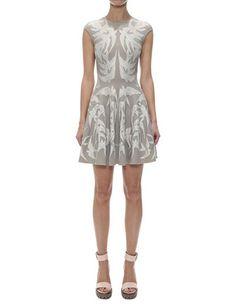 #ALEXANDERMCQUEEN Lace Spine Bird Jacquard Knit Full Circle Dress