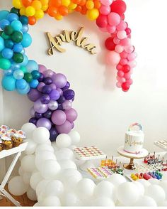 Showing no signs of deflating - or perhaps floating to new heights of popularity is the balloon garland. A free form balloon installation that uses asymmetry (unlike their uncool uncle, the balloon. Rainbow Birthday Party, First Birthday Parties, First Birthdays, 9th Birthday, Rainbow Balloons, Colourful Balloons, Balloon Wall, Balloon Garland, Balloon Pump