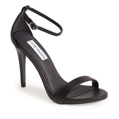 Women's Steve Madden Stecy Sandal (585 GTQ) ❤ liked on Polyvore featuring shoes, sandals, heels, black smooth, slim shoes, steve madden, heeled sandals, ankle wrap sandals and black heeled sandals