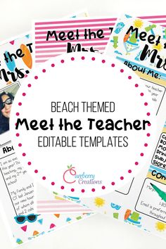 meet the teacher ideas Meet the teacher night is easy with these Editable templates to coordinate with your beach classroom decor. Whether you call it meet the teacher, or open ho Back To School Night, Welcome Back To School, Meet The Teacher Template, Powerpoint Presentation Slides, Diy Classroom Decorations, Classroom Supplies, Classroom Environment, New Teachers, Newsletter Templates