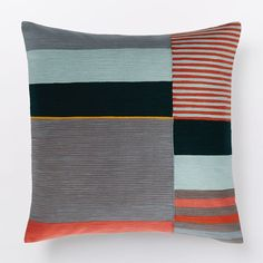 Margo Selby Crewel Colorblock Pillow Cover - Red | west elm