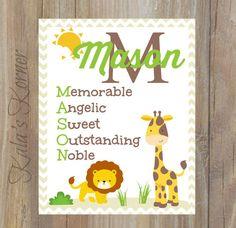 Jungle Nursery Art - Safari Nursery Décor - Custom Baby Name by KalasKorner, $12.00