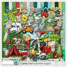 Camp Out, by Kristin Aagard, is the perfect kit to create the super cute and fun layouts and cards to show off your camping vacation, hiking and outdoor pics! Camp Out includes 18 papers, 2 full alphas and over 75 elements.