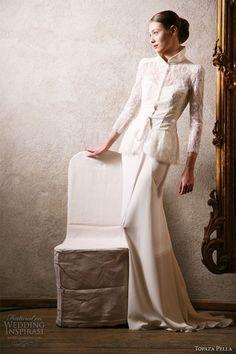 Topaza Pella Simply Love 2010 bridal collection, Love this bridal coat! Gowns With Sleeves, Wedding Dress Sleeves, Elegant Wedding Dress, Bridal Collection, Dress Collection, Wedding Suits, Wedding Gowns, Kebaya Wedding, Kebaya Dress