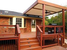 deck to patio transition ideas high deck to patio transition ideas Covered Deck Designs, Patio Deck Designs, Covered Decks, Patio Design, Covered Deck Ideas On A Budget, Garage Pergola, Deck With Pergola, Pergola Kits, Pergola Roof