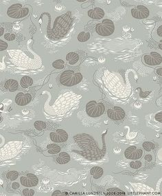 Beautiful wallpaper collection from Littlephant, designed by Camilla Lundsten are now available at The Pattern Collective. Whimsical patterns invite you to a fantasy world that only you decide on and create your own stories in, over and over again. Aqua Wallpaper, Fabric Wallpaper, Swan Float, Create Your Own Story, Beautiful Swan, Pet Bottle, Water Lilies, Green Backgrounds, Fantasy World