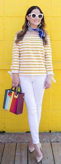 #cute #outfits  Yellow & White Off Shoulder Top / White Skinny Jeans / Beige Pumps