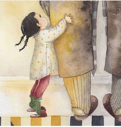 Mother And Daughter Drawing, Father And Daughter Love, Mother And Child, Love Illustration, Cool Art Drawings, Watercolor Drawing, Beautiful Morning, Love Painting, Happy Kids