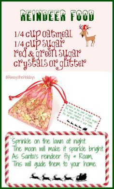 Magic Reindeer Food with Free Printable Label - Fun Reindeer Snack Noel Christmas, Christmas Crafts For Kids, Christmas Goodies, Christmas Projects, Winter Christmas, Christmas Themes, Holiday Crafts, Holiday Fun, Christmas Gifts