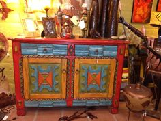 Painted cabinet in Tubac AZ