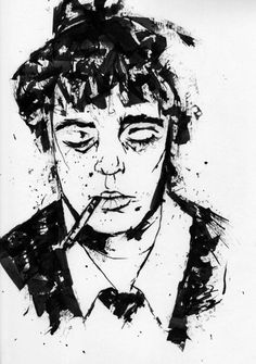 Got bored, so I drew Pete Doherty. used india ink and a safety pin. Also listened to this while drawing: http://www.youtube.com/watch?v=jz6IEjo_bXY