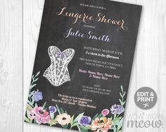 Lingerie Shower Invitations Purple Lace Corset by wowwowmeow