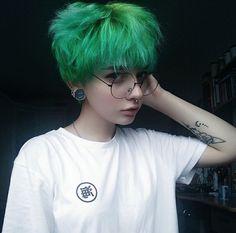 short green bright hair colour | urban punk #hair #cool