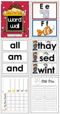 "This packet, ""Building a First Grade Word Wall,"" has everything you need to create or update your wall.  The set includes alphabet headers (vowels in red, consonants in blue), word cards (including sight words, word families, ""jail"" words, contractions, and more), instructional ideas, and games.  (111 pages, $)"