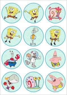 25 Digital Collage Sheet.Sponge Bob.Digital от LaVanda36 на Etsy