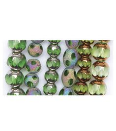 Blue Moon Beadshop 3 Program Glass Bead Strings-Cathedral Green & beads at Joann.com    I just like the copper and green beads...