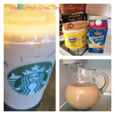 Lower calorie/less expensive version of Starbucks Iced Oprah Chai Tea Latte. 45 calories for 16oz serving. 6 Servings Batch: Steep 6 bags of Bigelow Vanilla Chai Tea in 9 cups of water for about 5-6 minutes. Allow to cool. Pour into pitcher, add 3 cups of Vanilla Unsweetened AlmondBreeze Milk and 4 Tbps of sugar. Chill in fridge. Single serve: 1 1/2 cups water with one tea bag, 1/2 cup of AlmondMilk, and 2 tsp of sugar. Update: I tried with SweetLeaf stevia. Tastes the same. Only 15 calories…