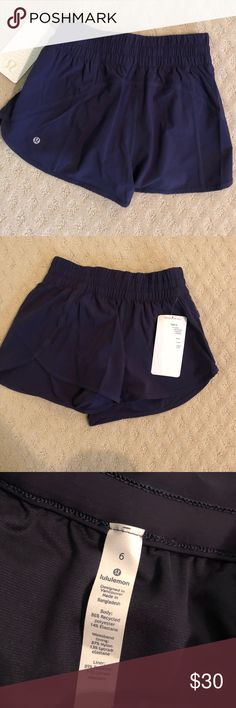 """Lululemon women's tracker short v 4"""" Dark bluish/purplish lululemon tracker short v 4"""". Size 6 and brand new with tags. I received these as a gift and they were too small, lululemon athletica Shorts"""