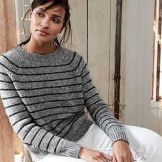 Buy Chunky Sparkle Stripe Sweater - from The White Company Cardigan Sweaters For Women, Men Sweater, Cardigans, Jumper Outfit, The White Company, Clothes For Sale, New Outfits, Knitwear, Turtle Neck