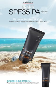 A sunscreen to protect men's skin from the UV!  Feel soft and natural adding treatment function. Protect your skin from life UV and control your skin clearly without oily feeling.      Brand : GATZMEN  All skin Types  Volume: 50ml  Made in Korea