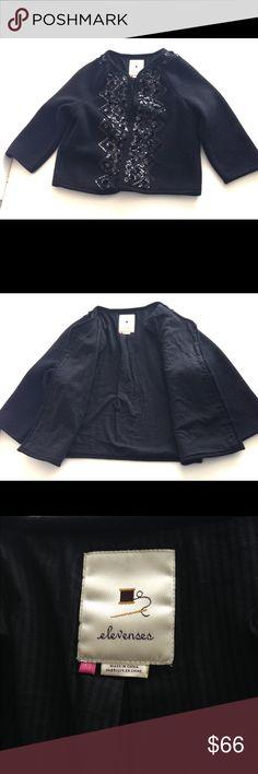 Anthropologie Elevenses Wool  Sequin Jacket Coat Anthropologie Elevenses Women's Black Wool Embellished Sequin Jacket Coat SZ xs Anthropologie Jackets & Coats