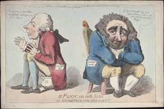 'A panic on both sides, or, Great men in the horrors!', Isaac Cruikshank, Pitt on a chamberpot - Fox on a chair Political Satire, Political Cartoons, 18th Century Fashion, 19th Century, James Gillray, Satirical Cartoons, William Hogarth, Stippling Art, American Revolutionary War