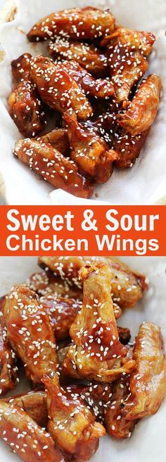 Sweet and Sour Chicken Wings - crispy oven-baked chicken wings with homemade sweet and sour sauce. These wings are addictive and delicious | rasamalaysia.com Chicken Wings, Food And Drink, Meat, Drinks, Drink, Buffalo Wings, Beverage, Cocktails, Drinking