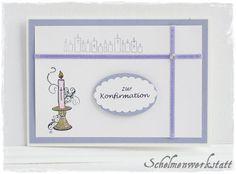Karte zur Konfirmation Kommunion Kerze von Schelmenwerkstatt auf DaWanda.com