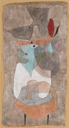 "1932, Paul Klee (Münchenbuchsee, Switzerland 1879-1940): ""Hut, Dame und Tischchen"" (Hat, Lady and Little Table). Gouache and watercolor on plaster-primed burlap, mounted on board, burlap 63.5 x 35.6 cm. Solomon R. Guggenheim Museum, New York."