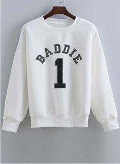sweater crewneck white baddies sweatshirt