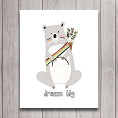 Dream Big Tribal Bear Nursery Wall Art Poster Printable, Woodland Baby Shower Present, Baby Bedroom Decor, Gender Neutral Decor, Download