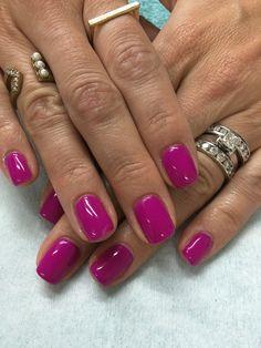 Fun summer Bright Pink Purple gel nails