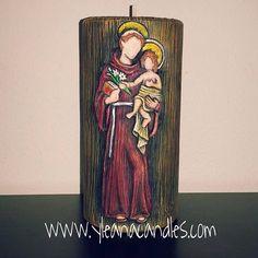San Antonio Sacramento, Diy And Crafts, Candle Holders, Soap, Painting, San Antonio, Saints, Handmade Candles, Bottles