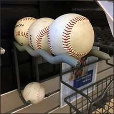 An more uncommon application for Easton Baseball Utility Hook Undulations. The main offering is three Baseballs, with a fourth as back stock in reserve Easton Baseball, Hooks, Arm, Retail, Arms, Wall Hooks, Sleeve, Crocheting, Retail Merchandising